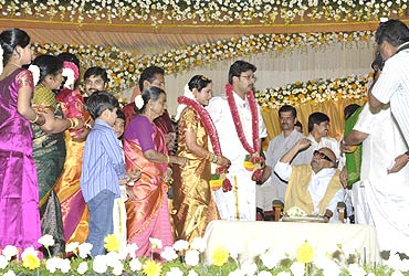 TN Chief Minister M Karunanidhi blesses the couple