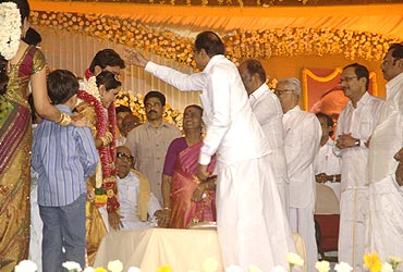 Home Minister P Chidambaram blesses the couple