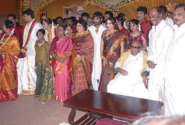 Actor Rajnikanth with TN CM Karunanidhi at the wedding