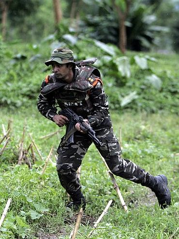 File photo shows a member of the Ghatak battalion on a training mission