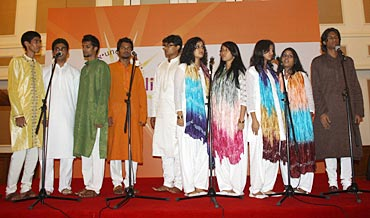 The students of St Andrew's Choir, wearing ethnic outfits, sang like angels
