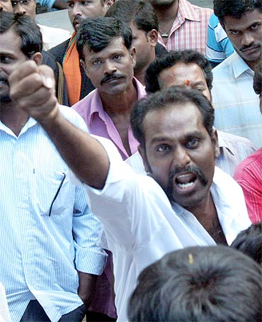 Jagan supporters near his residence in Hyderabad