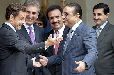 President Sarkozy with his Pakistani counterpart Asif Ali Zardari in Paris