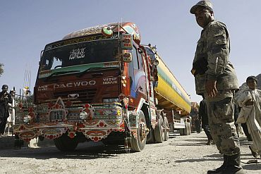 Tankers carrying fuel for NATO forces cross Torkham border into Afghanistan