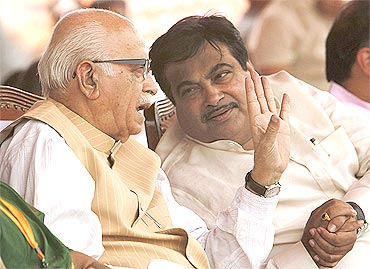 Gadkari with senior BJP leader L K Advani