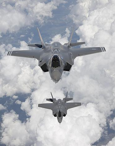 F-35 Lightning II, also known as the Joint Strike Fighter (JSF), fighter aircraft are seen as they arrive at Edwards Air Force Base in California