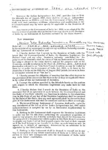The so-called Instrument of Accession that Hari Singh is said to have signed