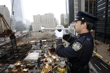 A New York City policeman at Ground Zero