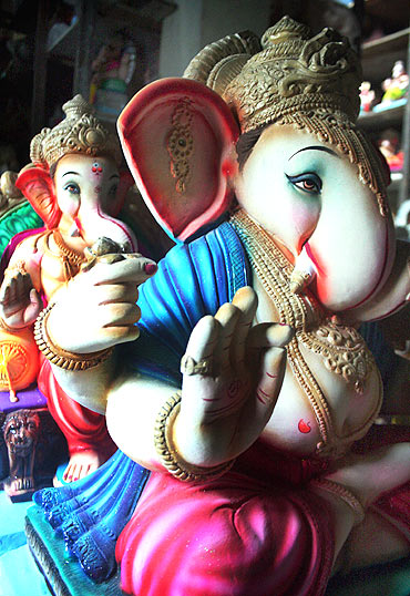 A Ganesha idol made of clay