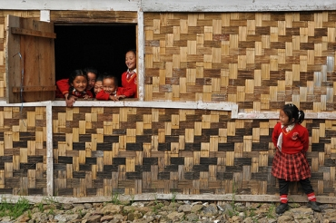Children take a break from class at their newly-established school