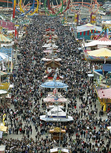 A general view of the festival grounds on the opening day of the 177th Oktoberfest in Munich