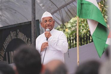 Veteran social activist Anna Hazare during his recently concluded fast unto death against corruption in New Delhi