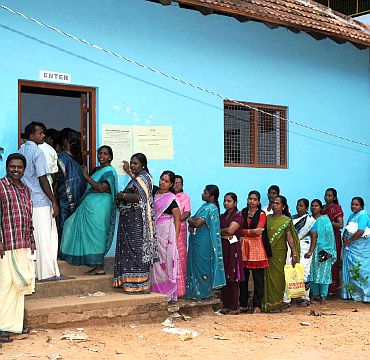 A long queue of voters at a polling station in Thiruvananthapuram