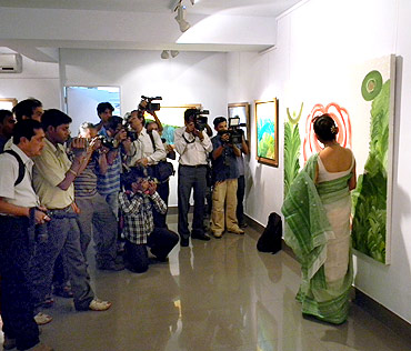 Media hounds actress June Malia at Trinamool chief Mamata Banerjee's painting exhibition