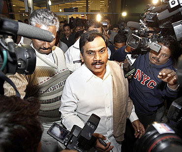 Former telecommunications minister A Raja is being investigated for the 2G scam and is in prison