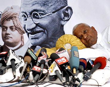 A file photo of Anna Hazare during his fast against corruption in New Delhi