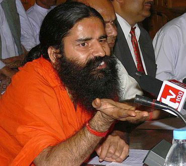 A  file photo of Baba Ramdev addressing a press conference