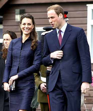 Britain's Prince William (R) and his Kate Middleton visit Witton Country Park in northern England