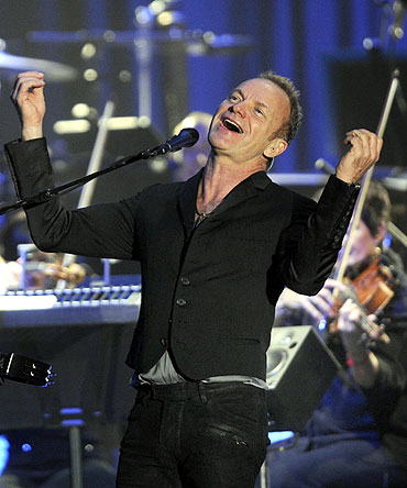 British musician Sting sings at the Bilbao Exhibition Centre