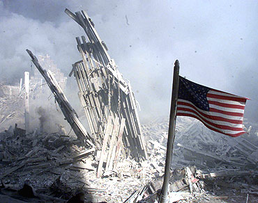 An American flag flies near the base of the destroyed World Trade Centre in New York City