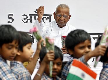 Social activist Anna Hazare during his fast unto death against corruption at Jantar Mantar in New Delhi