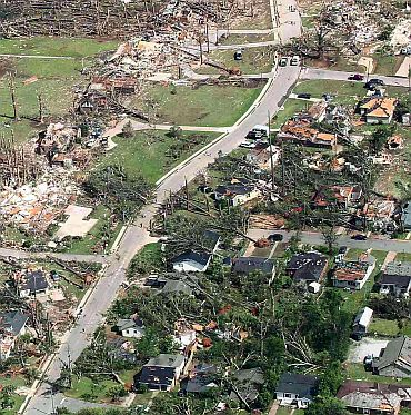 An aerial view shows the path of tornadoes that left extensive damage to all things in its path in Tuscaloosa