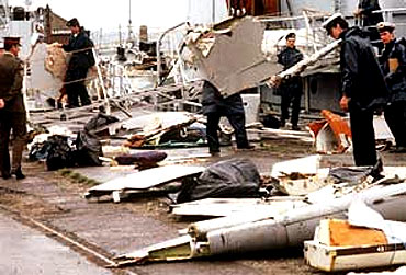 The wreckage of Air India Flight 182 after the bombing that led to its crash in 1985