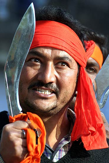 A Bajrang Dal activist demonstrates in Chandigarh over the Babri Masjid issue