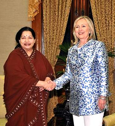 US Secretary of State Hillary Clinton is greeted by Jayalalithaa in Chennai