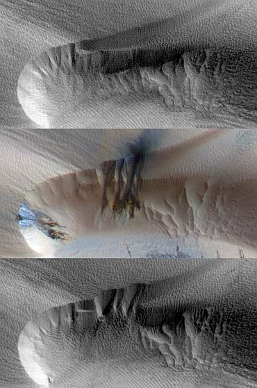 Three images of the same location taken at different times on Mars show seasonal activity causing sand avalanches and ripple changes on a Martian dune