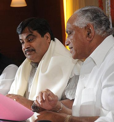 Gadkari with Yeddyurappa