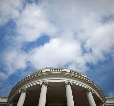 The sky is seen above the Truman Balcony of the White House