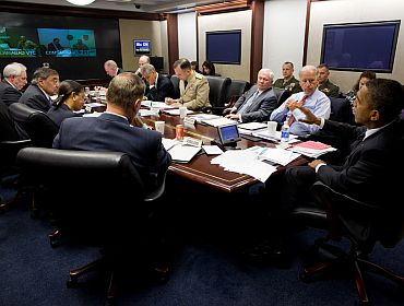 President Obama and Vice President Joe Biden meet with members of the national security team in the Situation Room