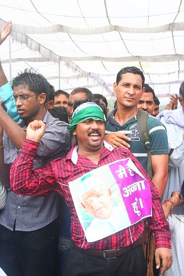 Hazare supporters at Ramlila Grounds