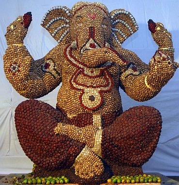 This idol of Lord Ganesh, made from 150kg of betelnut, is housed at the Makba Chawl Ganesh Mandal at Byculla West