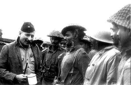 Then General Sam Manekshaw, India's army chief during the 1971 war, with his troops