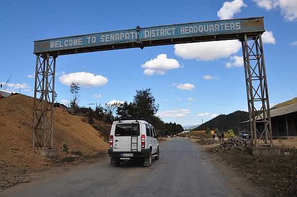 Entrance to the headquarters of Manipur's Senapati district. The tussle between the Kuki and Naga tribals over the proposed division of the district resulted in the 121-day economic blockade of Manipur
