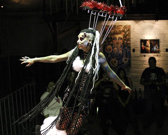 Maria Jose Cristerna performs during an exhibition in Guadalajara, Mexico