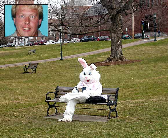 William Falkingham (inset) was ordered by the police not to wear bunny suits
