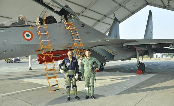 IAF chief N A K Browne with Wing Commander Anurag Sharma before the SU-30 MKI flight
