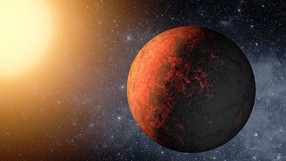 Kepler-20e is the smallest planet found to date orbiting a Sun-like star. It circles its star every 6.1 days at a distance of 4.7 million miles. At that distance, its temperature is expected to be about 1,400 degrees F. This is an artist's rendering.