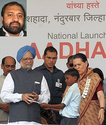 Prime Minister Manmohan Singh launches the Aadhaar Number under Unique Identification Authority of India, at Tembhali village, Nandurbar, Maharashtra on September 29 alongwith Congress President Sonia Gandhi. (Inset) Human Rights activist Gopal Krishna