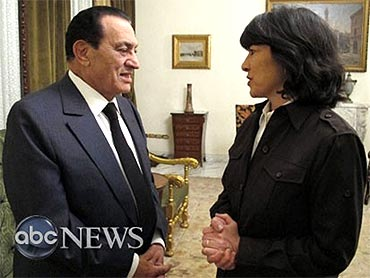 Egypt's President Hosni Mubarak speaks to ABC News correspondent in an exclusive interview at the presidential palace in Cairo on Thursday