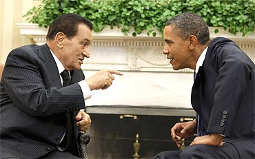 File picture of US President Barack Obama (R) meeting with Egypt's President Hosni Mubarak at the White House