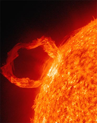 A prominence eruption from the sun is seen in this image taken by the Solar Dynamics Observatory