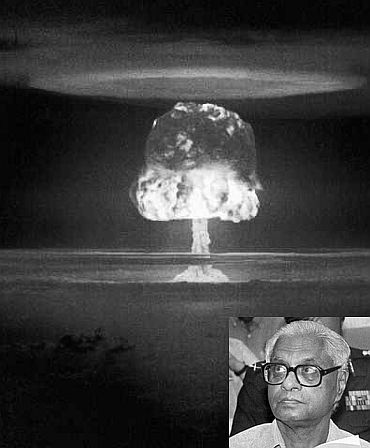 A nuclear explosion. Inset: The legendary K Subrahmanyam