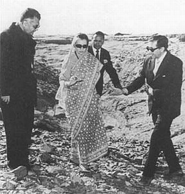 Then prime minister Indira Gandhi with Homi Sethna, right, then chairman, Atomic Energy Commission, and K C Pant, then minister of state for defence, left, at the site of India's first nuclear explosion in Pokharan, Rajasthan