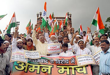 BJP supporters during an anti-terror march in Delhi