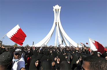Thousands of protesters gather at Pearl Roundabout in the heart of the Bahraini capital Manama