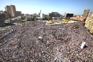 Egyptian pro-democracy supporters gather in Tahrir Square in Cairo on Friday